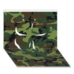 Woodland Camouflage Pattern Clover 3D Greeting Card (7x5)