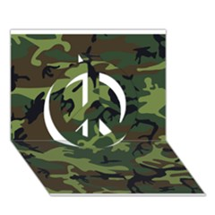 Woodland Camouflage Pattern Peace Sign 3D Greeting Card (7x5)