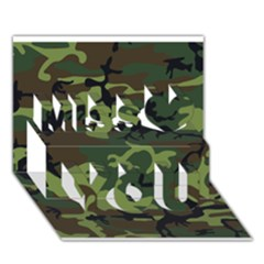 Woodland Camouflage Pattern Miss You 3D Greeting Card (7x5)