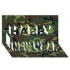 Woodland Camouflage Pattern Happy New Year 3D Greeting Card (8x4)