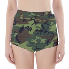 Woodland Camouflage Pattern High-Waisted Bikini Bottoms