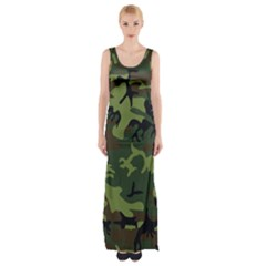 Woodland Camouflage Pattern Maxi Thigh Split Dress
