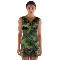 Woodland Camouflage Pattern Wrap Front Bodycon Dress
