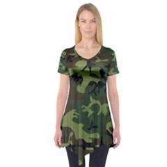 Woodland Camouflage Pattern Short Sleeve Tunic