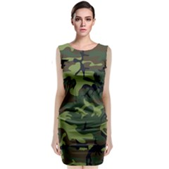 Woodland Camouflage Pattern Classic Sleeveless Midi Dress