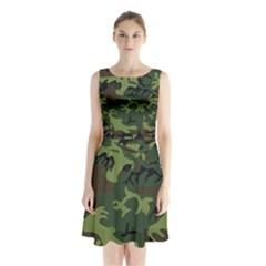 Woodland Camouflage Pattern Sleeveless Chiffon Waist Tie Dress