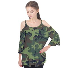 Woodland Camouflage Pattern Flutter Tees