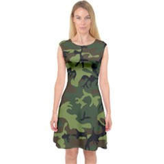 Woodland Camouflage Pattern Capsleeve Midi Dress