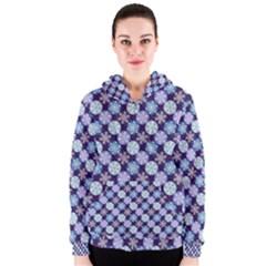 Snowflakes Pattern Women s Zipper Hoodie