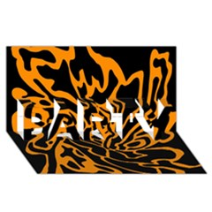 Orange and black PARTY 3D Greeting Card (8x4)