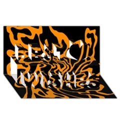 Orange and black Best Wish 3D Greeting Card (8x4)