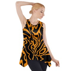 Orange And Black Side Drop Tank Tunic