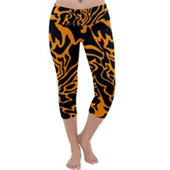 Orange and black Capri Yoga Leggings