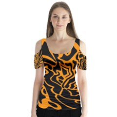 Orange and black Butterfly Sleeve Cutout Tee