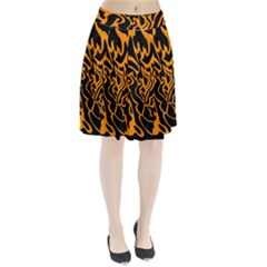 Orange And Black Pleated Skirt