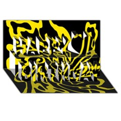 Black and yellow Happy Birthday 3D Greeting Card (8x4)