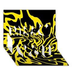 Black and yellow Miss You 3D Greeting Card (7x5)
