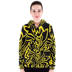 Black and yellow Women s Zipper Hoodie