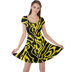 Black and yellow Cap Sleeve Dresses