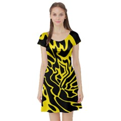 Black and yellow Short Sleeve Skater Dress