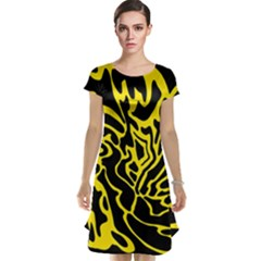 Black and yellow Cap Sleeve Nightdress