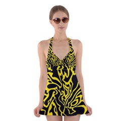 Black And Yellow Halter Swimsuit Dress