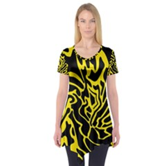 Black And Yellow Short Sleeve Tunic