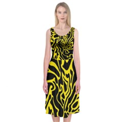 Black And Yellow Midi Sleeveless Dress