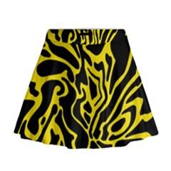 Black and yellow Mini Flare Skirt