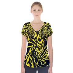 Black and yellow Short Sleeve Front Detail Top