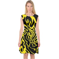 Black and yellow Capsleeve Midi Dress