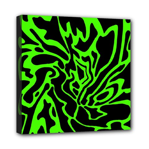 Green and black Mini Canvas 8  x 8