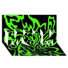 Green and black MOM 3D Greeting Card (8x4)