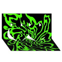 Green and black Twin Hearts 3D Greeting Card (8x4)