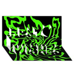 Green and black Best Wish 3D Greeting Card (8x4)