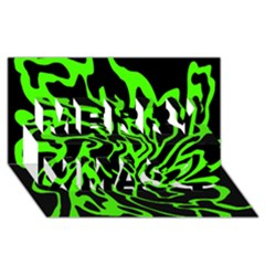 Green and black Merry Xmas 3D Greeting Card (8x4)