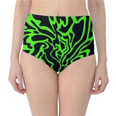 Green and black High-Waist Bikini Bottoms