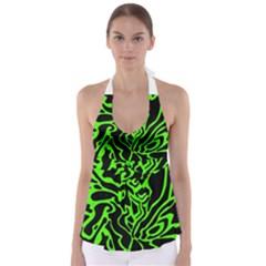 Green and black Babydoll Tankini Top