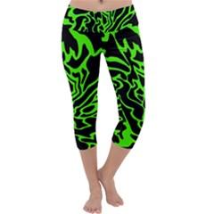 Green and black Capri Yoga Leggings