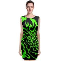 Green And Black Classic Sleeveless Midi Dress