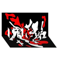 Red, black and white decor HUGS 3D Greeting Card (8x4)