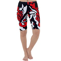 Red, black and white decor Cropped Leggings