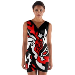 Red, black and white decor Wrap Front Bodycon Dress