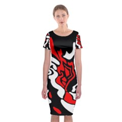 Red, black and white decor Classic Short Sleeve Midi Dress