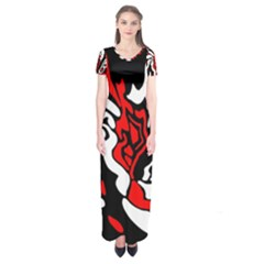 Red, black and white decor Short Sleeve Maxi Dress
