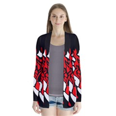 Red, black and white decor Drape Collar Cardigan