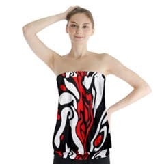 Red, black and white decor Strapless Top