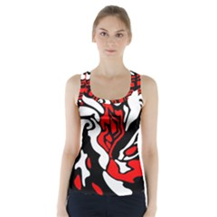 Red, Black And White Decor Racer Back Sports Top