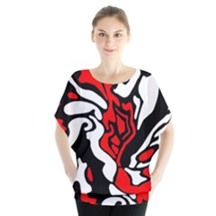 Red, black and white decor Blouse