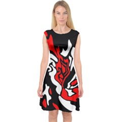 Red, black and white decor Capsleeve Midi Dress